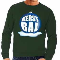 Foute kersttrui kerstbal blauw op groene sweater heren