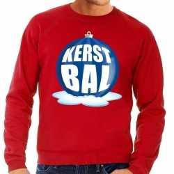Foute kersttrui kerstbal blauw op rode sweater heren