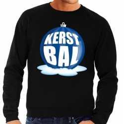 Foute kersttrui kerstbal blauw op zwarte sweater heren