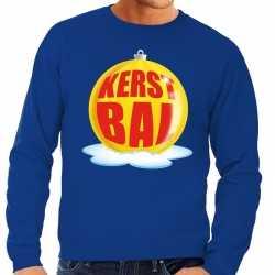 Foute kersttrui kerstbal geel op blauwe sweater heren
