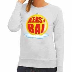 Foute kersttrui kerstbal geel op grijze sweater dames