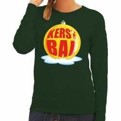 Foute kersttrui kerstbal geel op groene sweater dames