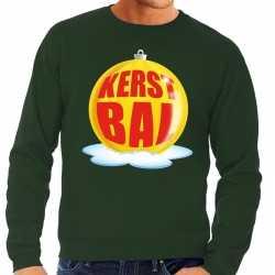 Foute kersttrui kerstbal geel op groene sweater heren