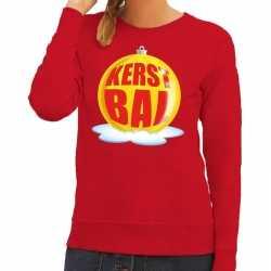 Foute kersttrui kerstbal geel op rode sweater dames