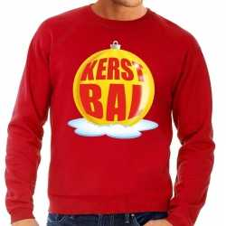 Foute kersttrui kerstbal geel op rode sweater heren