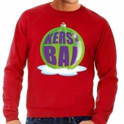 Foute kersttrui kerstbal groen op rode sweater heren