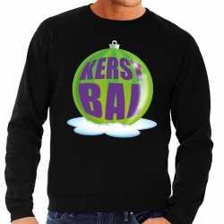 Foute kersttrui kerstbal groen op zwarte sweater heren