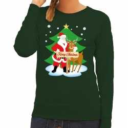 Foute kersttrui kerstman rendier rudolf groen dames