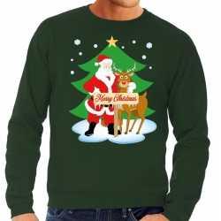 Foute kersttrui kerstman rendier rudolf groen heren