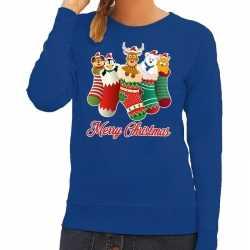 Foute kersttrui kerstsokken merry christmas blauw dames