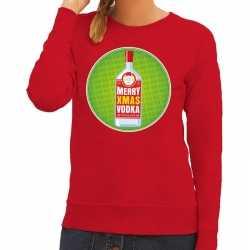 Foute kersttrui merry christmas vodka rood dames