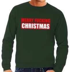 Foute kersttrui merry fucking christmas groen heren