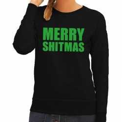 Foute kersttrui merry shitmas zwart dames