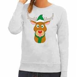 Foute kersttrui rendier rudolf groene kerstmuts grijs dames