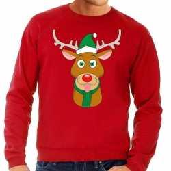 Foute kersttrui rendier rudolf groene kerstmuts rood heren