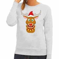 Foute kersttrui rendier rudolf rode kerstmuts grijs dames
