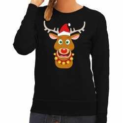 Foute kersttrui rendier rudolf rode kerstmuts zwart dames