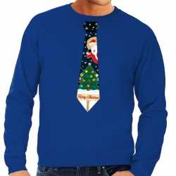 Foute kersttrui stropdas kerst print blauw heren