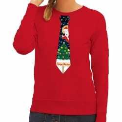 Foute kersttrui stropdas kerst print rood dames