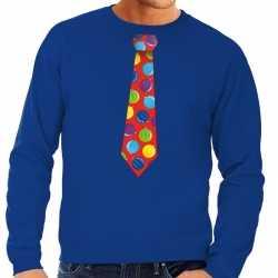 Foute kersttrui stropdas kerstballen print blauw heren