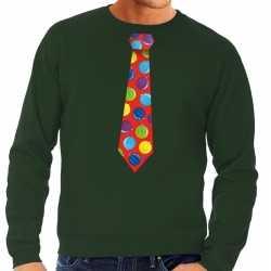 Foute kersttrui stropdas kerstballen print groen heren