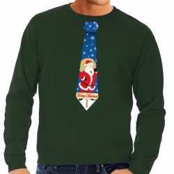 Foute kersttrui stropdas kerstman print groen heren
