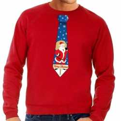 Foute kersttrui stropdas kerstman print rood heren