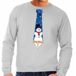 Foute kersttrui stropdas sneeuwpop print grijs heren