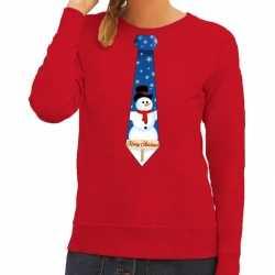Foute kersttrui stropdas sneeuwpop print rood dames