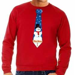 Foute kersttrui stropdas sneeuwpop print rood heren