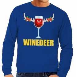 Foute kersttrui winedeer blauw heren