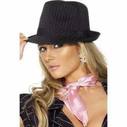 Gangster hoed zwart roze