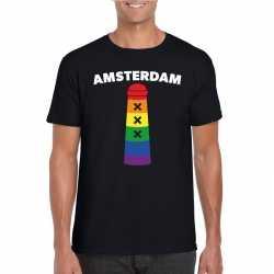Gay pride amsterdammertje shirt zwart heren