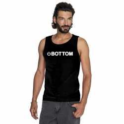 Gay singlet shirt/ tanktop power bottom zwart heren