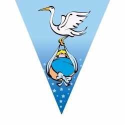 Geboorte vlaggenlijn blauw ooievaar