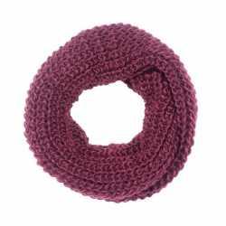 Gebreide col sjaal bordeaux rood volwassenen
