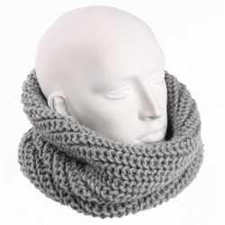 Gebreide col sjaal creme grijs