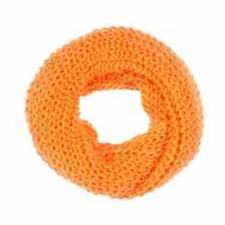 Gebreide col sjaal neon oranje volwassenen