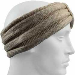 Gebreide hoofdband beige volwassenen