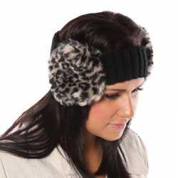 Gebreide hoofdband luipaardprint oorwarmers dames
