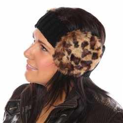 Gebreide hoofdband panterprint oorwarmers dames