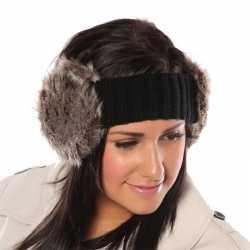 Gebreide hoofdband zachte nepbont oorwarmers dames