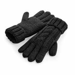 Gebreide melange handschoenen zwart volwassenen