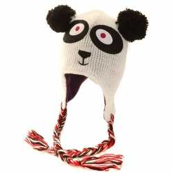 Gebreide panda muts peruaans dames