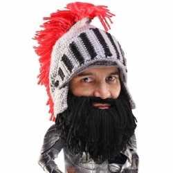 Gebreide ridder muts zwarte baard