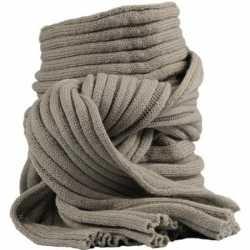 Gebreide sjaal khaki volwassenen