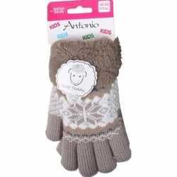 Gebreide winter handschoenen bruin bruin pluche meisjes