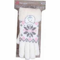 Gebreide winter handschoenen creme wit pluche dames