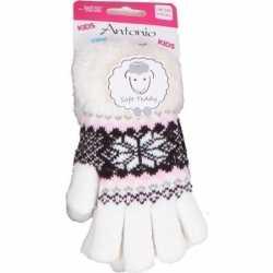 Gebreide winter handschoenen creme wit pluche meisjes
