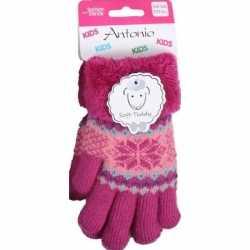 Gebreide winter handschoenen fuchsia roze fuchsia roze pluch